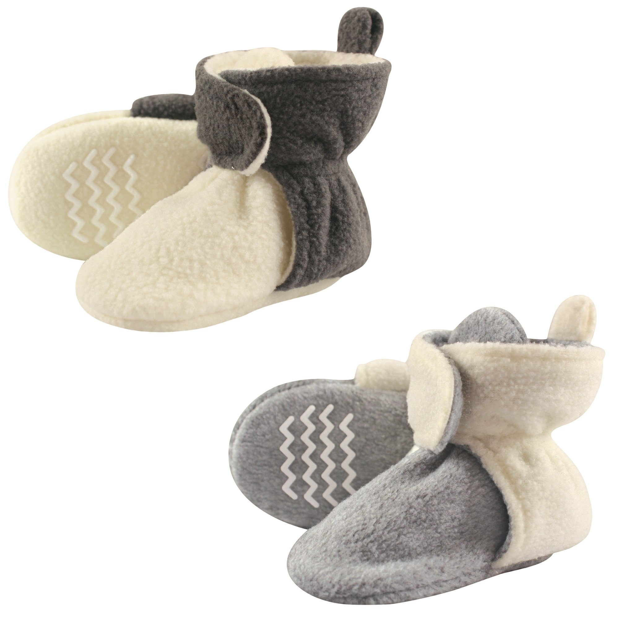Hudson Baby Cozy Fleece Booties with Non Skid Bottom, 2 Pack, Cream/Gray, 0-6 Months