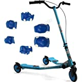 FoxHunter Kids Blue Large Tri Motion Push Scooter Swing Trike Slider Striker Drifter with 3 Wheels for Age 7+