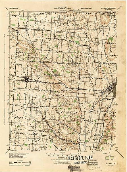 st paris ohio map Amazon Com Yellowmaps St Paris Oh Topo Map 1 62500 Scale 15 X