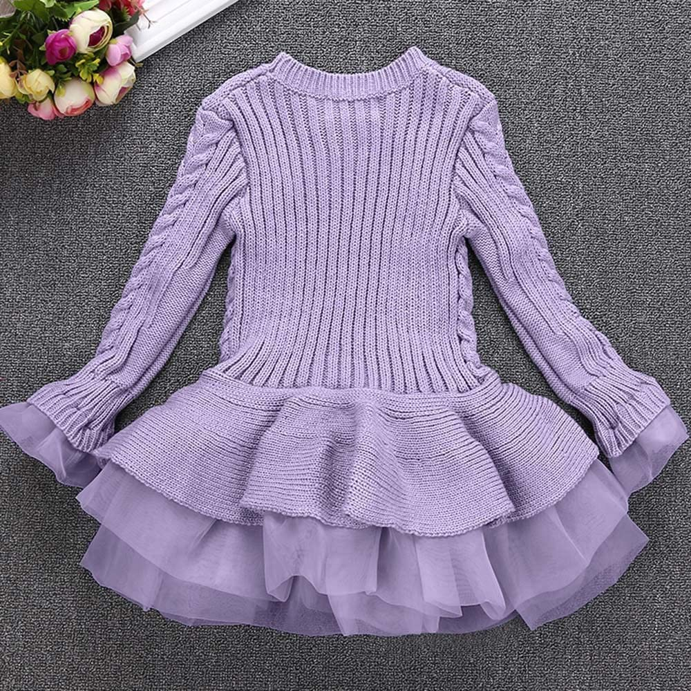 Kid Toddler Girl Autumn Winter Warm Knitted Dress Solid Long Sleeve Tutu Dresses Wedding Kehen Girls Pullover Sweaters