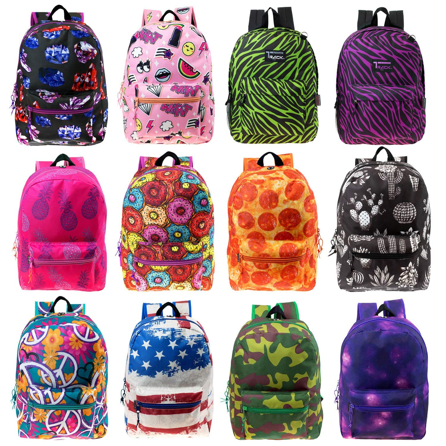 17'' Wholesale Kids Classic Padded Backpacks in 8 to 12 Randomly Assorted Unique Prints - Bulk Case of 24 Bookbags