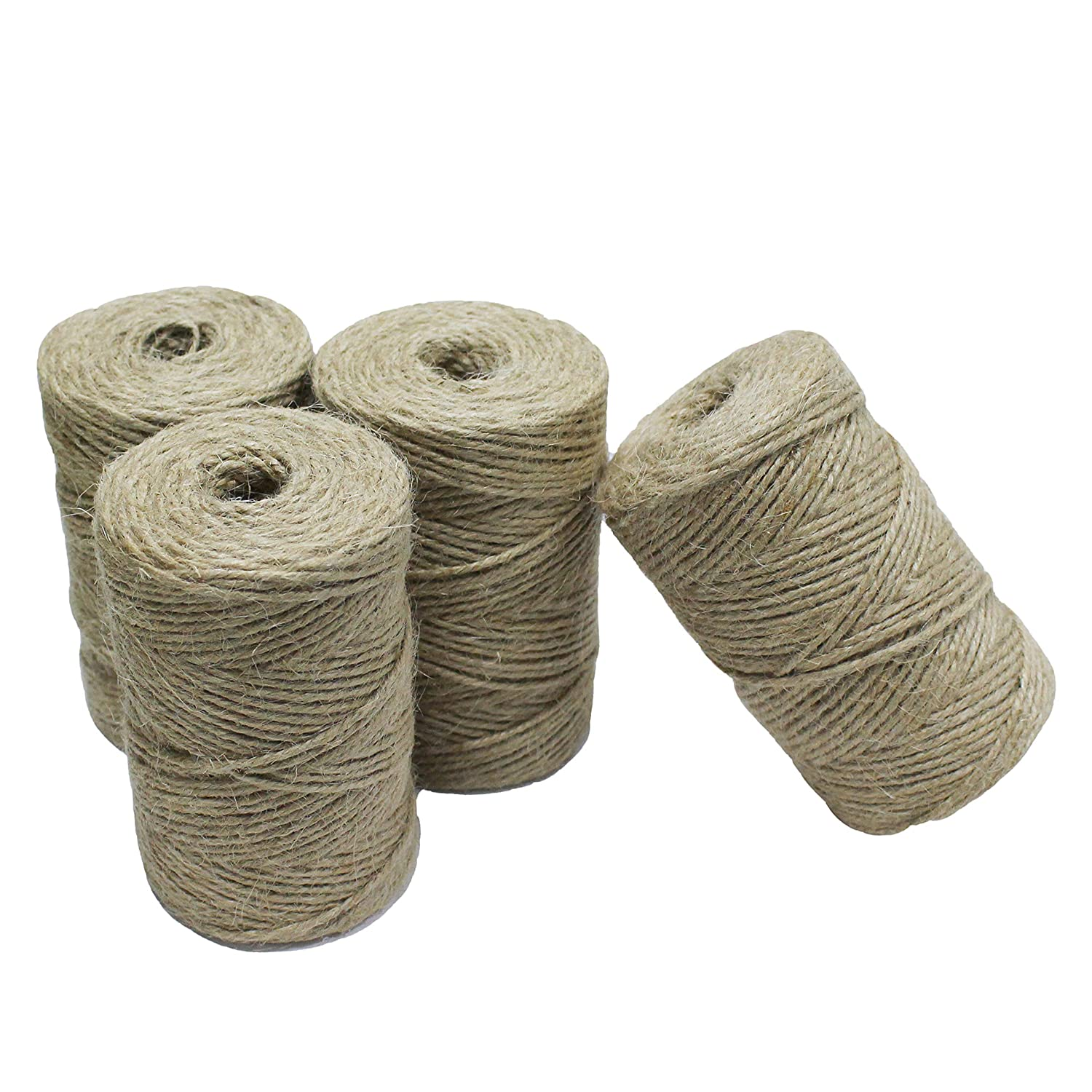Gardzen Nature Jute Twine 4-Pack, Each Roll is 328 ft, Natural 3Ply Twisted String Rope for Toys Craft Gift DIY Gardening