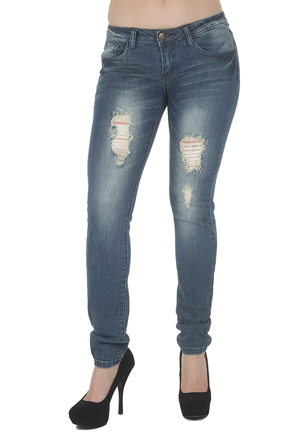 1A7121 – Women's Juniors Low Rise Distressed Destroyed Premium Skinny Jeans