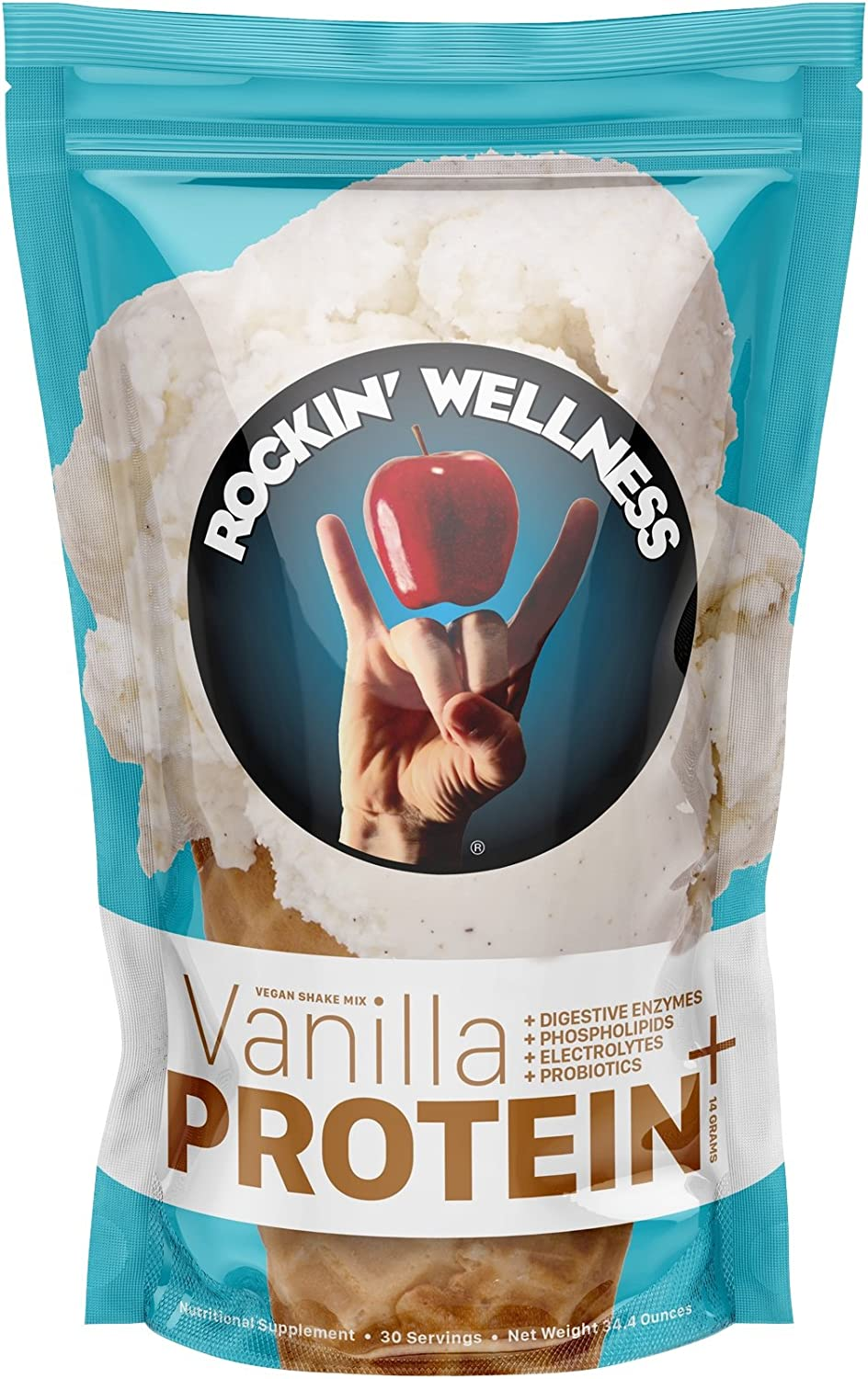 Rockin Wellness – Protein Superfood Vegan, Organic, Non-GMO, All Natural Total Body Nutrition, Gluten-Free, Dairy-Free, 21 Servings