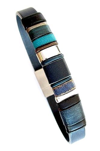 Pulsera de cuero azul, brazalete de cuero genuino, artículos de lujo, pulseras hombre, regalos exclusivos para hombre, accesorios hombre, pulsera cuero y plata, EC14: Amazon.es: Handmade