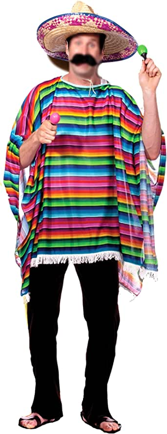 AKAKING Mexican Serape Culture Multicolor Party Costume for Adult
