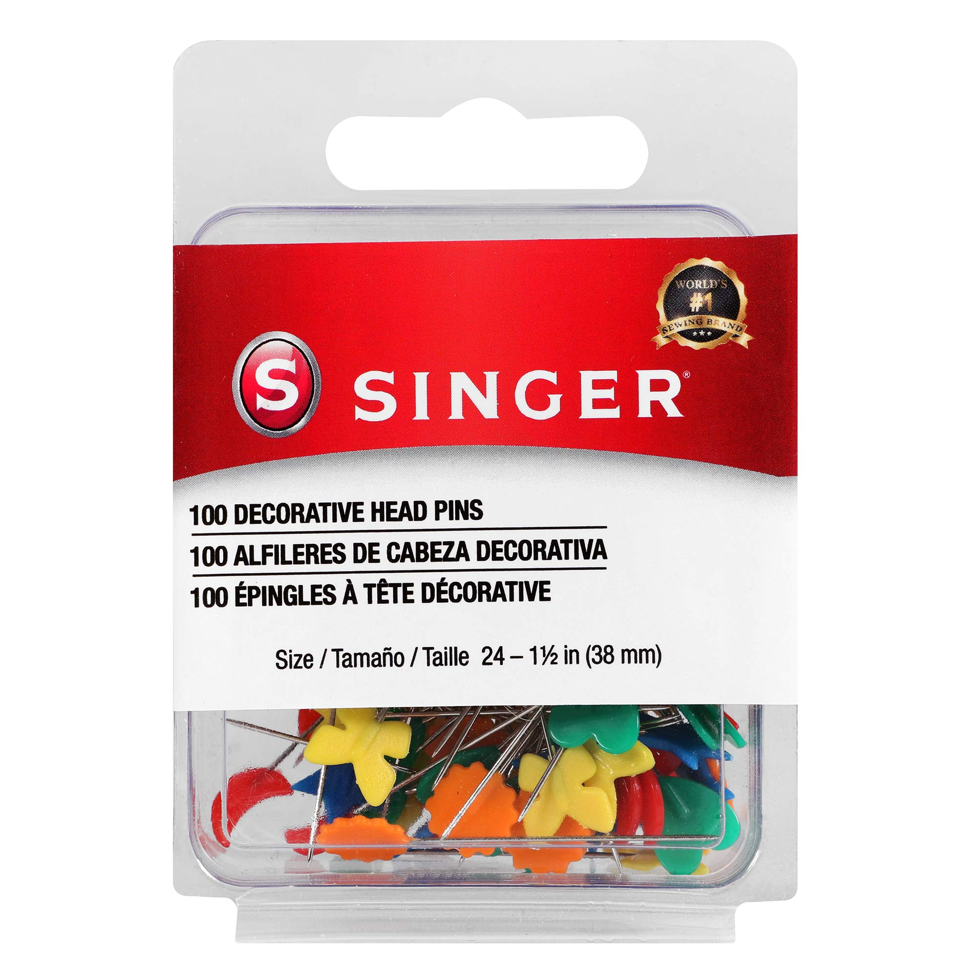 SINGER 00359 Decorative Head Straight Pins, 100-Count