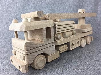 WoMa Creativo Uso Carro Camión de Bomberos Madera Coche de Bomberos Juguete Escalera Carro Respetuoso con el Medio: Amazon.es: Juguetes y juegos