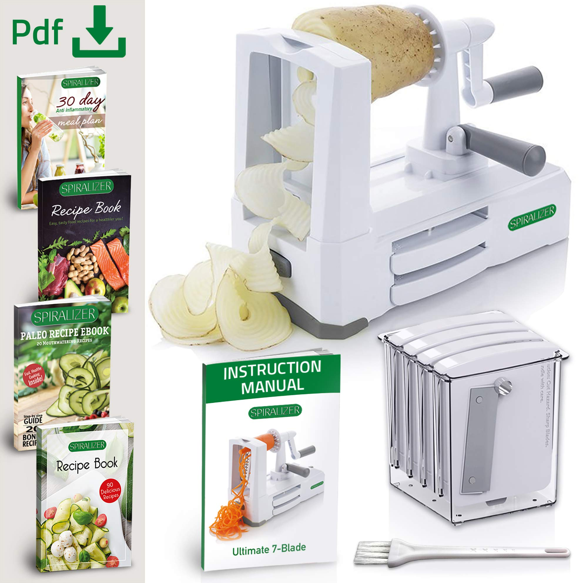 Spiralizer Ultimate 7-Blade Vegetable Slicer, Strongest-and-Heaviest Duty Vegetable Spiral Slicer, Best Veggie Pasta Spaghetti Maker for Keto/Paleo/Gluten-Free, With Extra Blade Caddy & 4 Recipe Ebook by Spiralizer (Image #4)