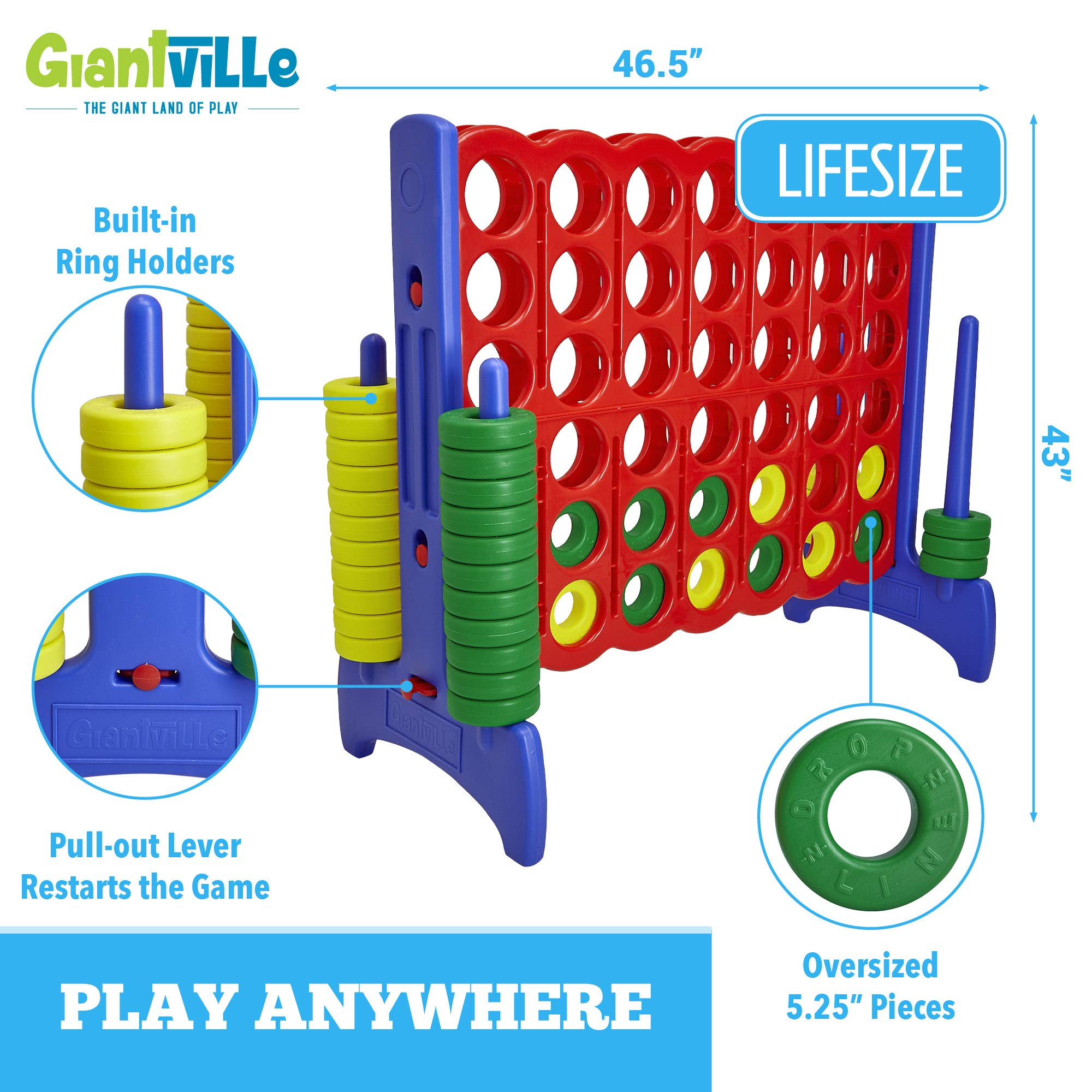 Giant 4 in a Row Connect Game - 4 Feet Wide by 3.5 Feet Tall Oversized Floor Activity for Kids and Adults - Jumbo Sized for Outdoor and Indoor Play - by Giantville, Blue/Red by Giantville (Image #2)