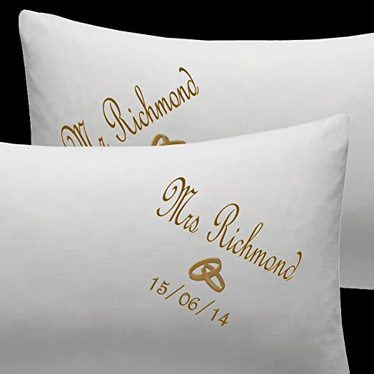 Personalised Embroidered Pillow Cases Bride And Groom Wedding Gift