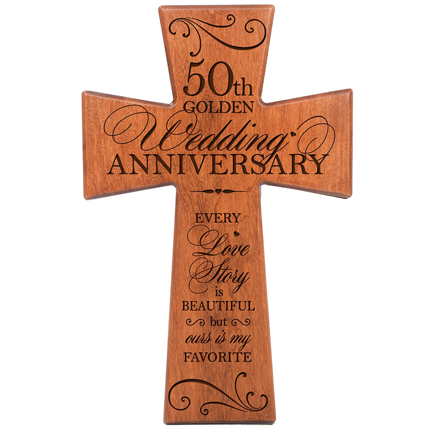 Amazon 50th Wedding Anniversary Cherry Wood Wall Cross Gift For