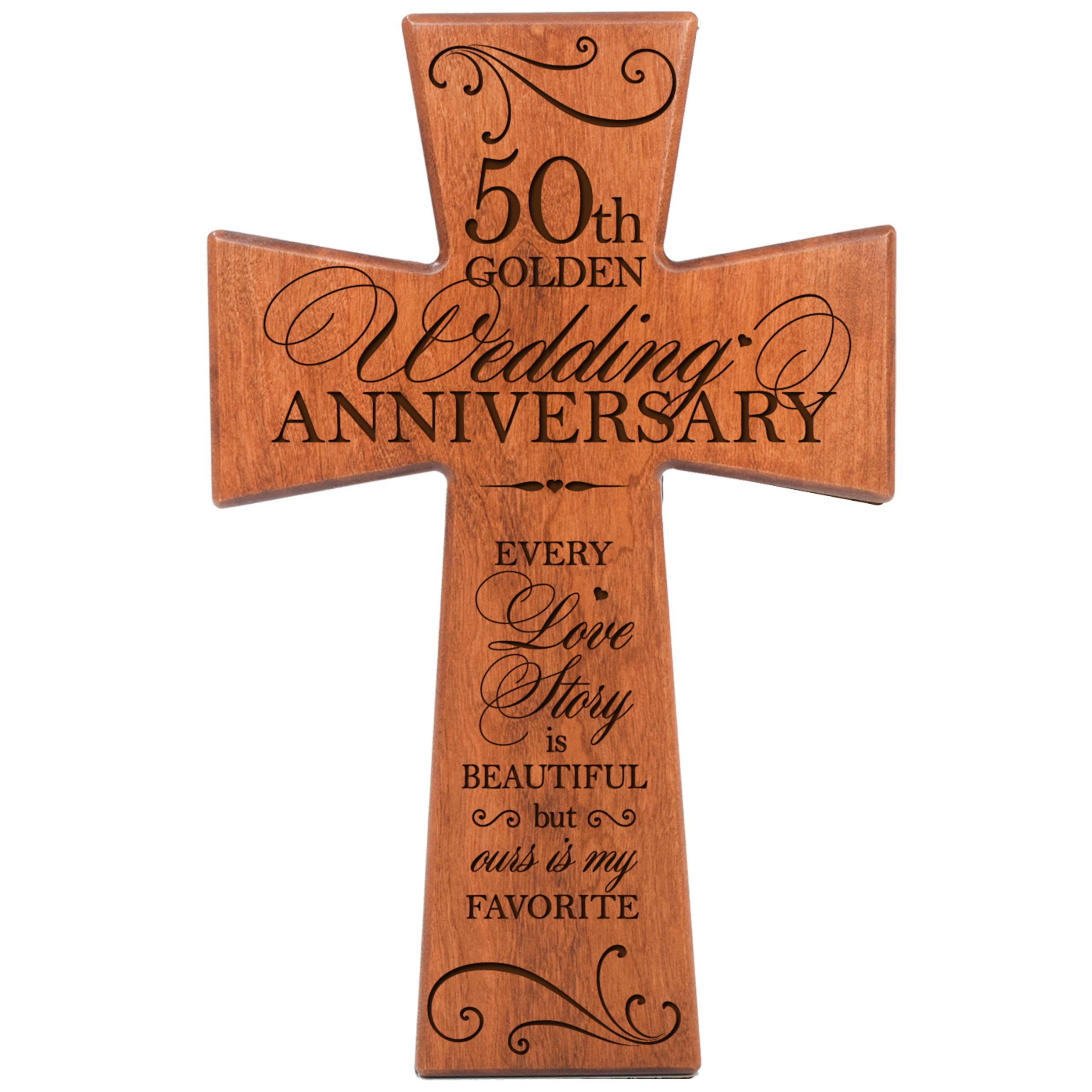 LifeSong Milestones 50th Wedding Anniversary Cherry Wood Wall Cross Gift for Couple,50th for Her,50th Wedding for Him Every Love Story is Beautiful but Ours is My Favorite # 62868 by LifeSong Milestones