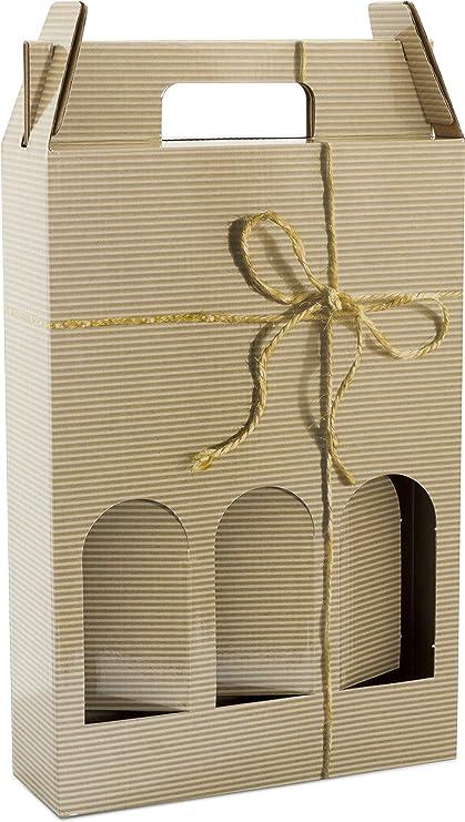 Estuche para botellas de vino - 10 UNIDADES (Lazo, 3 Botellas): Amazon.es: Oficina y papelería