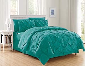 Elegant Comfort Luxury Best, Softest, Coziest 8-Piece Bed-in-a-Bag Comforter Set on Amazon Silky Soft Complete Set Includes Bed Sheet Set with Double Sided Storage Pockets, Full/Queen, Turquoise
