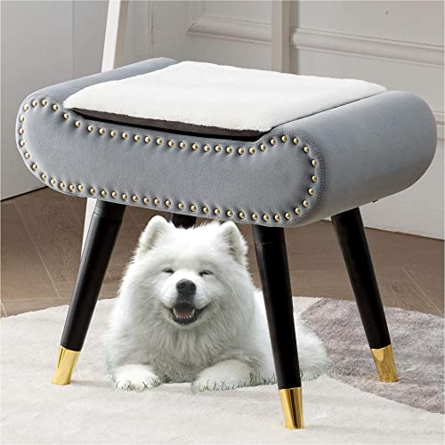 Velvet Upholstered Footrest Faux Fur Benches Square Storage Ottoman Review