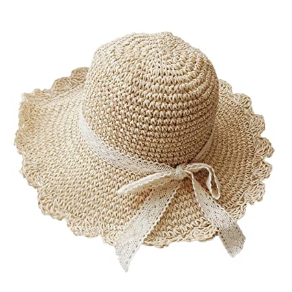 0ad5a783 Greenery-GRE Summer Beach Sun Straw Hats for Women Ladies Wide Brim Lace  Bow Floppy
