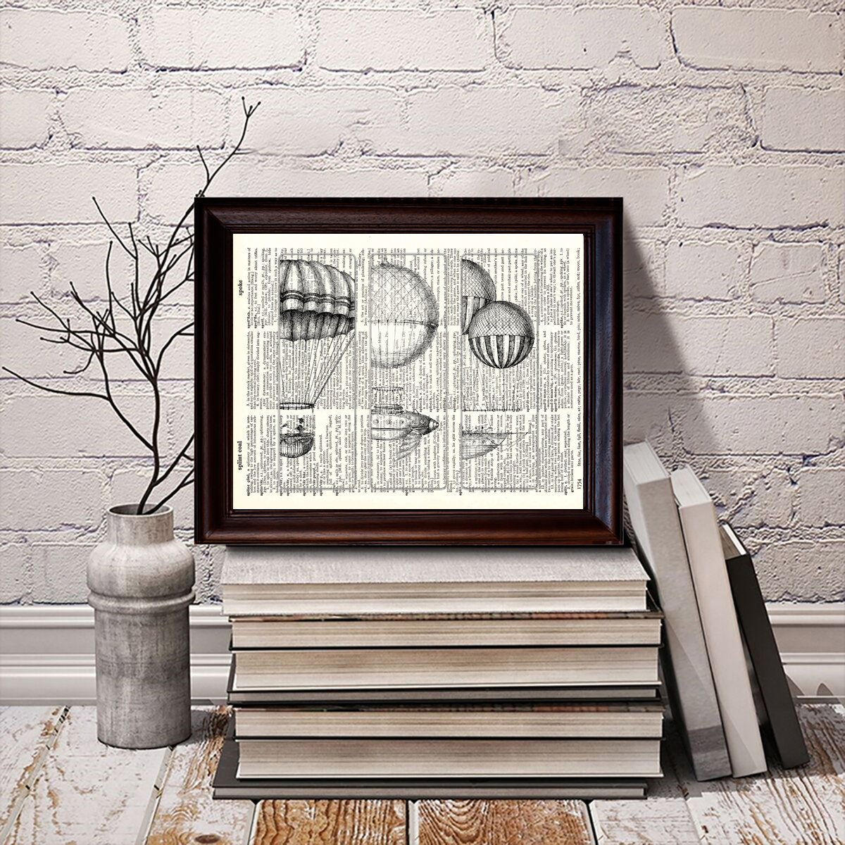 8 x 10.5 Dictionary Art Print Printed On Authentic Vintage Dictionary Book Page Hot Air Balloons