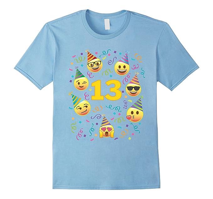 Mens Emoji Birthday Shirt For 13 Thirteen Year Old Girl Boy Party 2XL Baby Blue