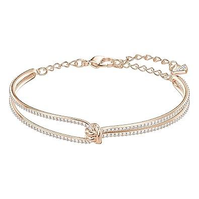 Swarovski Bracelet,jonc Lifelong, blanc, plaqué or rose
