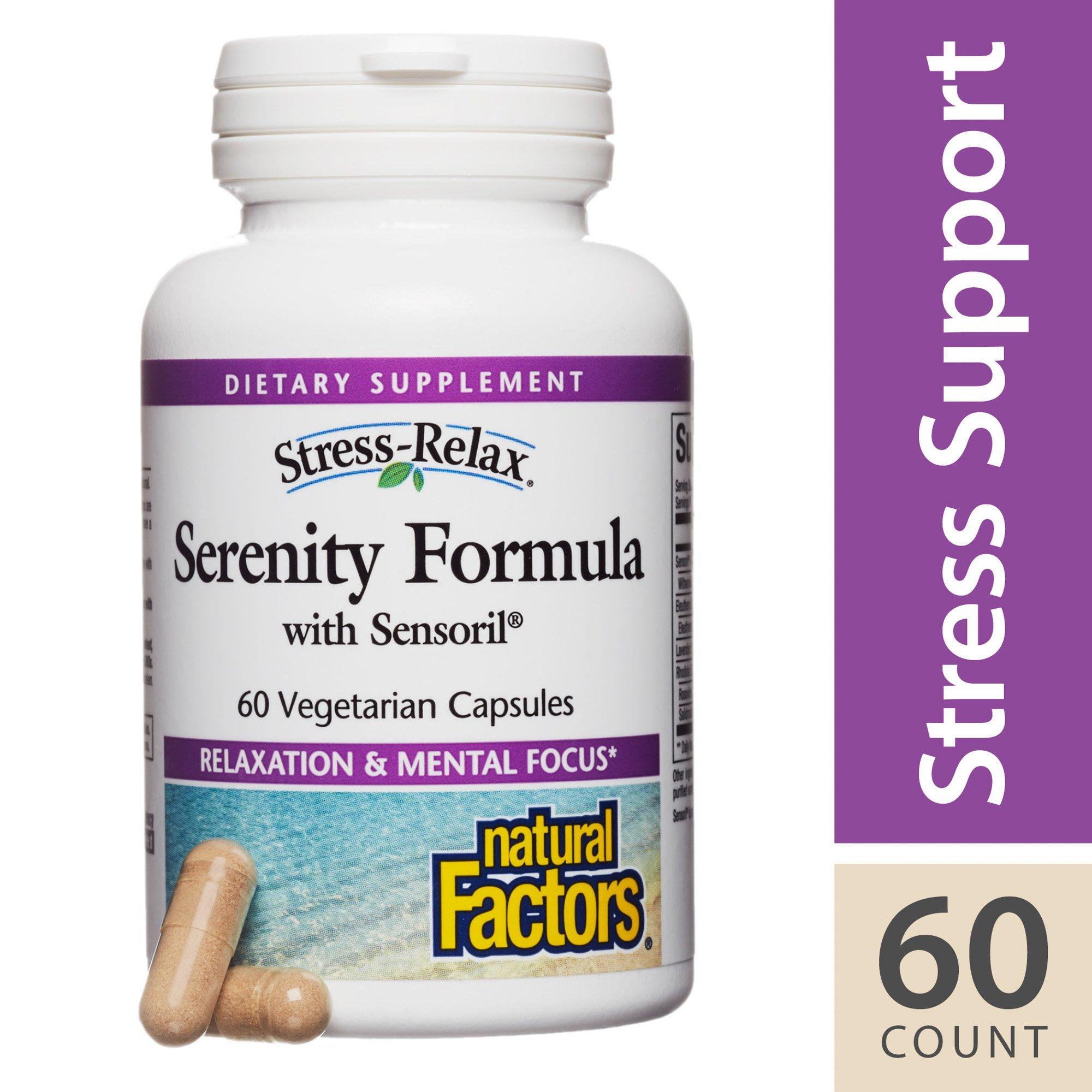 Natural Factors - Stress-Relax Serenity Formula with Sensoril, Herbal Formulation, 60 Vegetarian Capsules