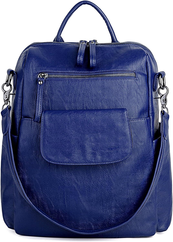 Rucksack Backpack Water Resistant Denim Print Dark Blue and Leather