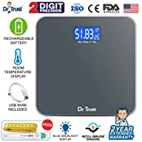 Dr Trust (USA) Electronic Platinum Rechargeable Digital Personal Weighing Scale for Human Body with Temperature Display