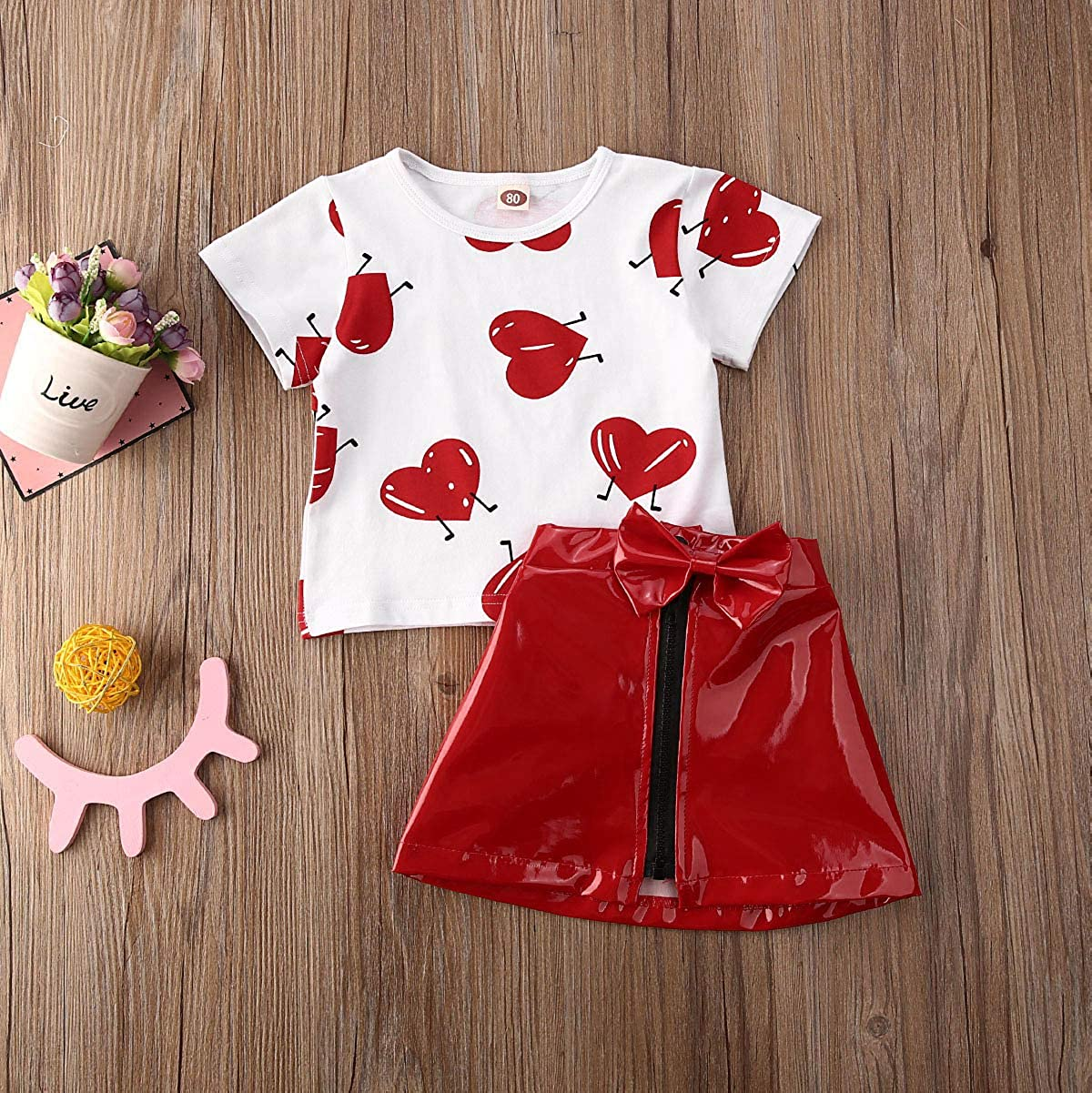 LZCYILANXIULSL Toddler Baby Girl Valentines Day Outfit Love Print T Shirts Top Leather Skirt Summer Clothes Sets