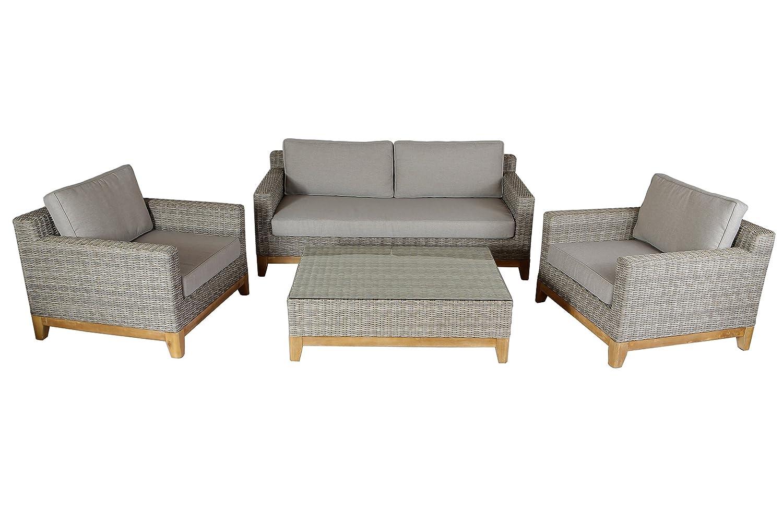 VILLANA exklusive Loungegruppe Gartenlounge aus hochwertigem Polyrattan und Akazie in braun meliert für 4 Personen, inkl. Kaffeetisch, Couchtisch und Polster, 102 x 62 x 30,5, 2-Sitzer, Sessel, Couch