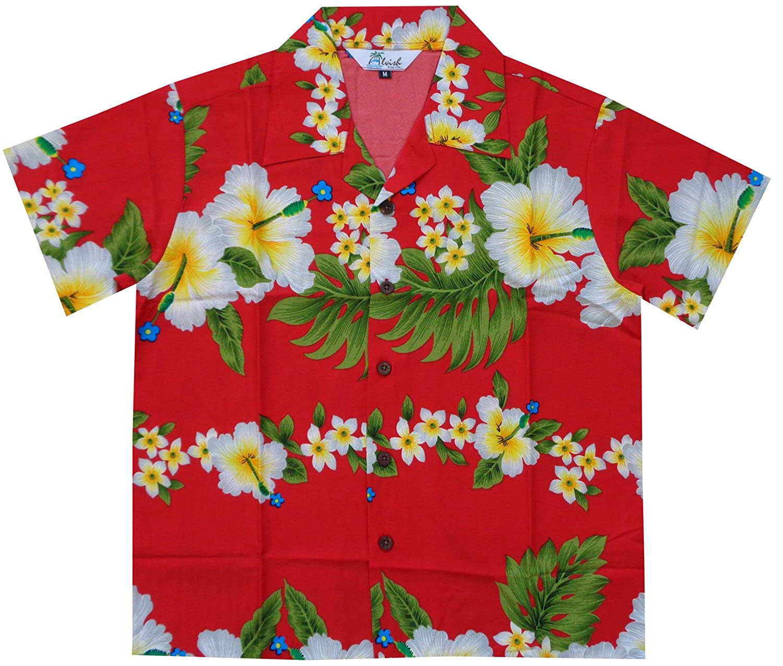 Alvish Hawaiian Shirts Boys Hibiscus Flower Print Beach Aloha Party Camp Short Sleeve
