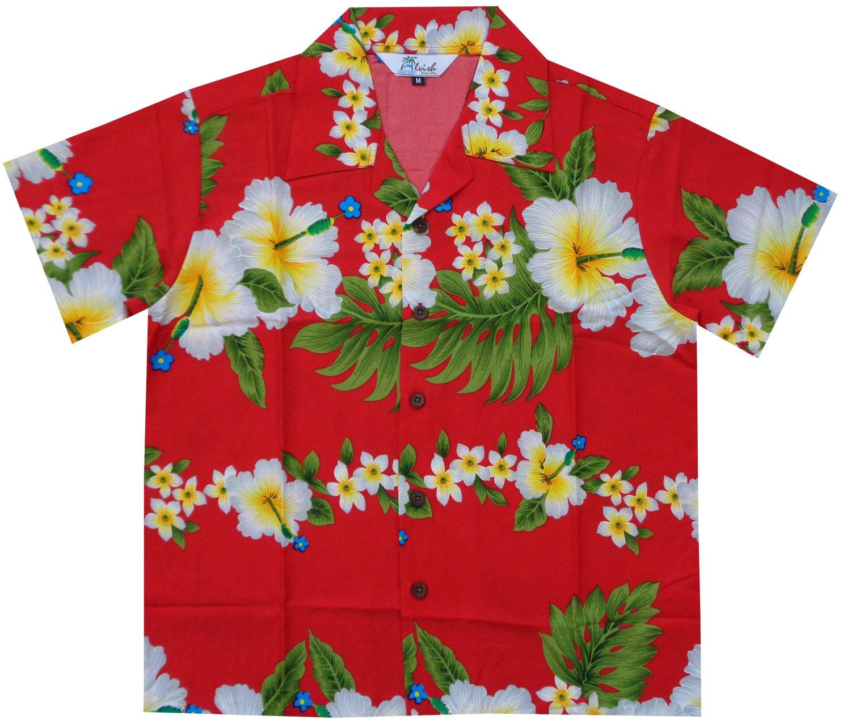 Alvish Hawaiian Shirts 10AB Boys Hibiscus Flower Print Beach Aloha Party Camp Red L