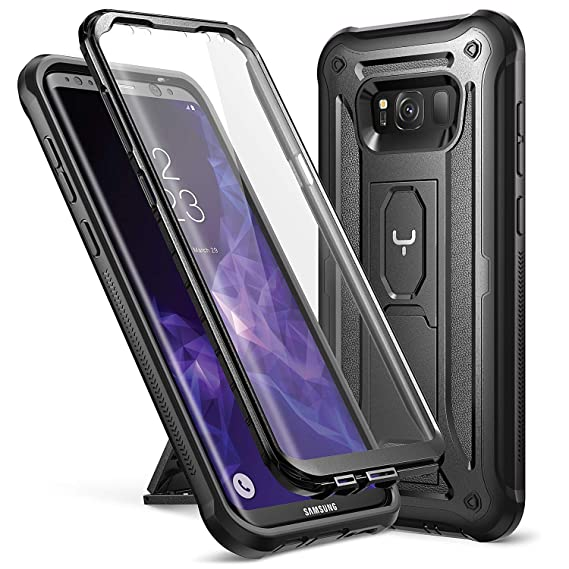 low priced f866f 39bdb YOUMAKER Kickstand Case for Galaxy S8 Plus, Full Body with Built-in Screen  Protector Heavy Duty Protection Shockproof Rugged Cover for Samsung Galaxy  ...