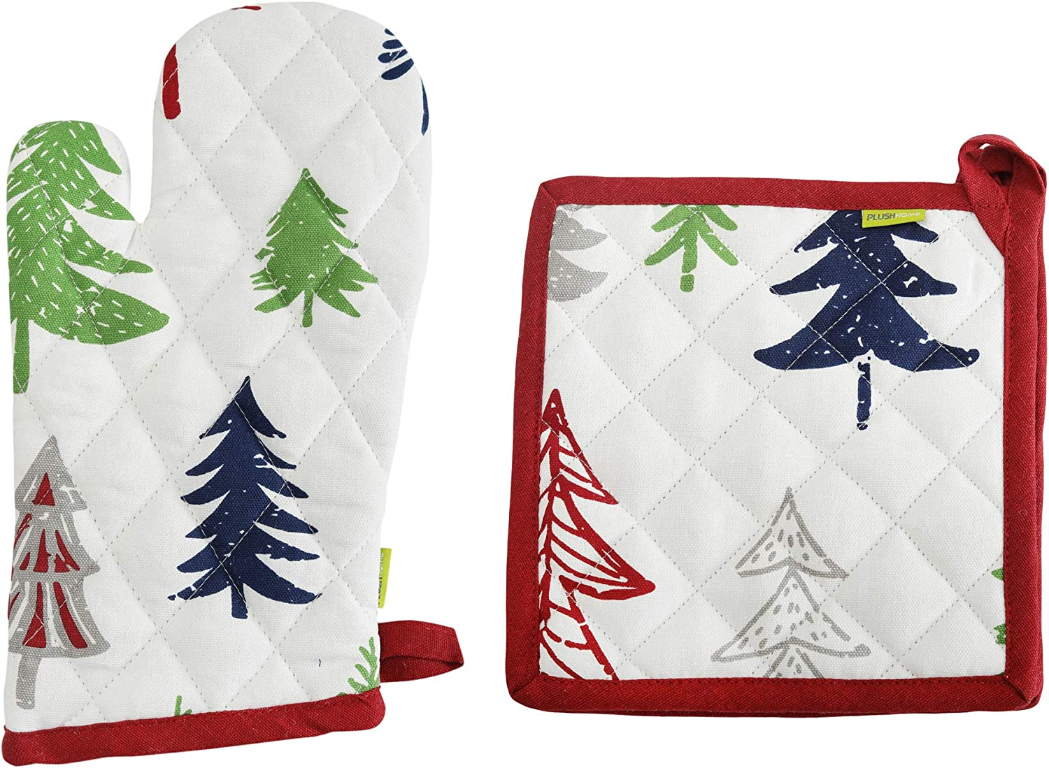 """Plush Home Pot Holder and Oven Mitt Set - Pine Trees Design, 100% Cotton, Set of 1 Oven Mitten of Size 7"""" X12 Inch & 1 Potholder of Size 8"""" X8 Inch with high Heat Resistant Polyester Filling"""
