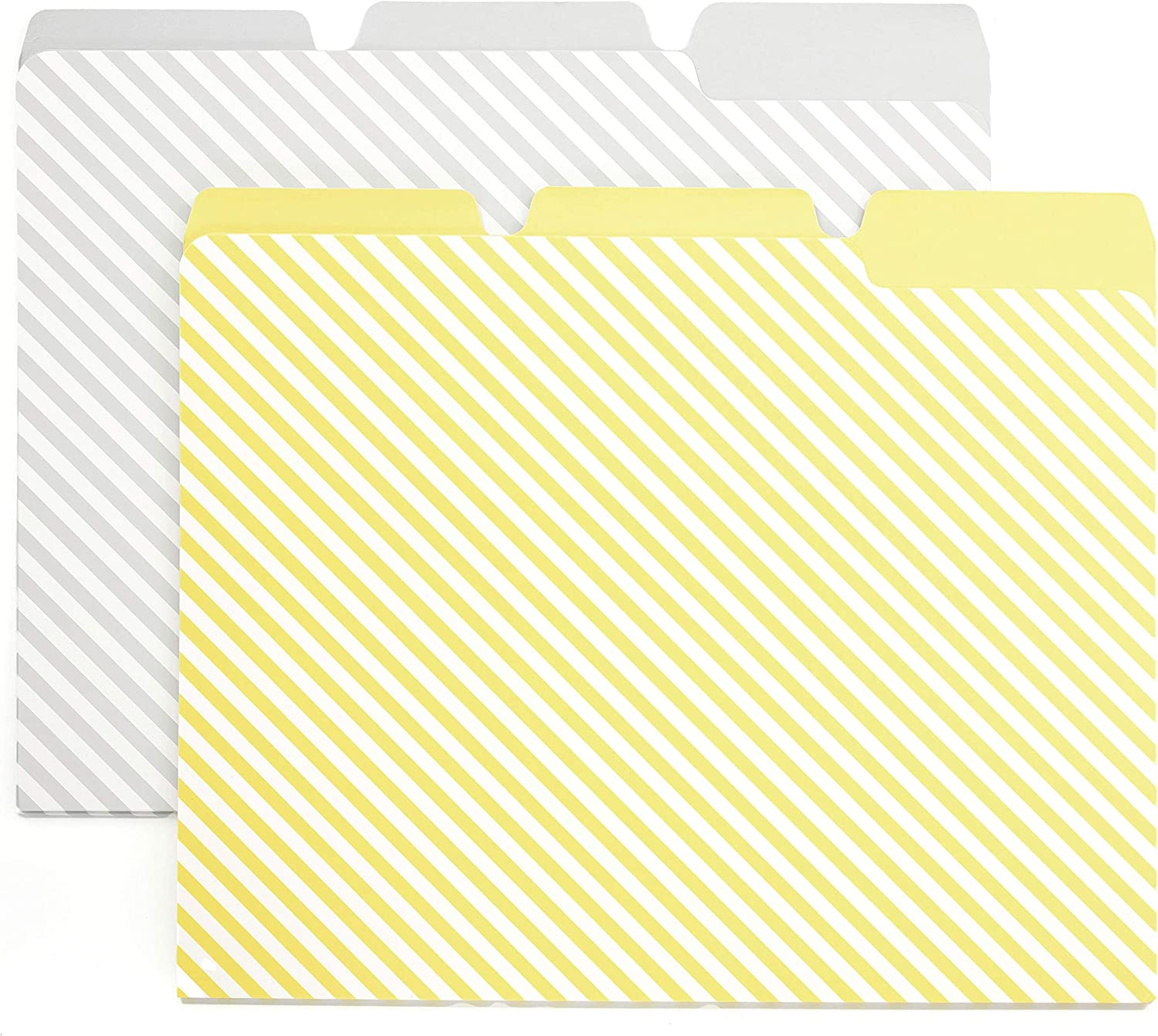 6 Pack File Folders - Grey and Yellow Diagonal Stripe - with Tabs, fits Letter Size Paper, Folder Size 9.5 in by 11.75 in - Standard Size - Office, Home and School Organization