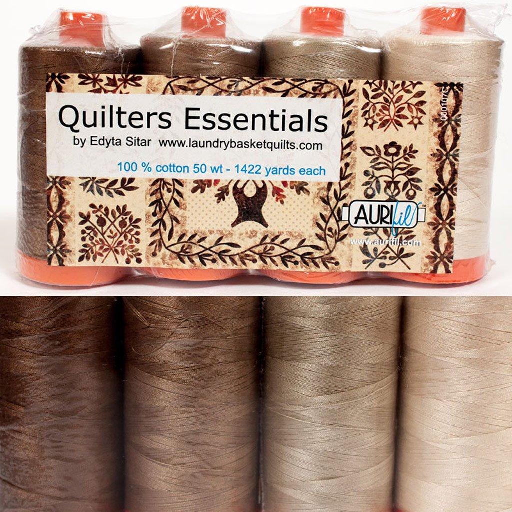Aurifil Thread 4 large (1422 yard) Spools 50wt Cotton QUILTERS ESSENTIALS Neutrals By Edyta Sitar QE50ES4