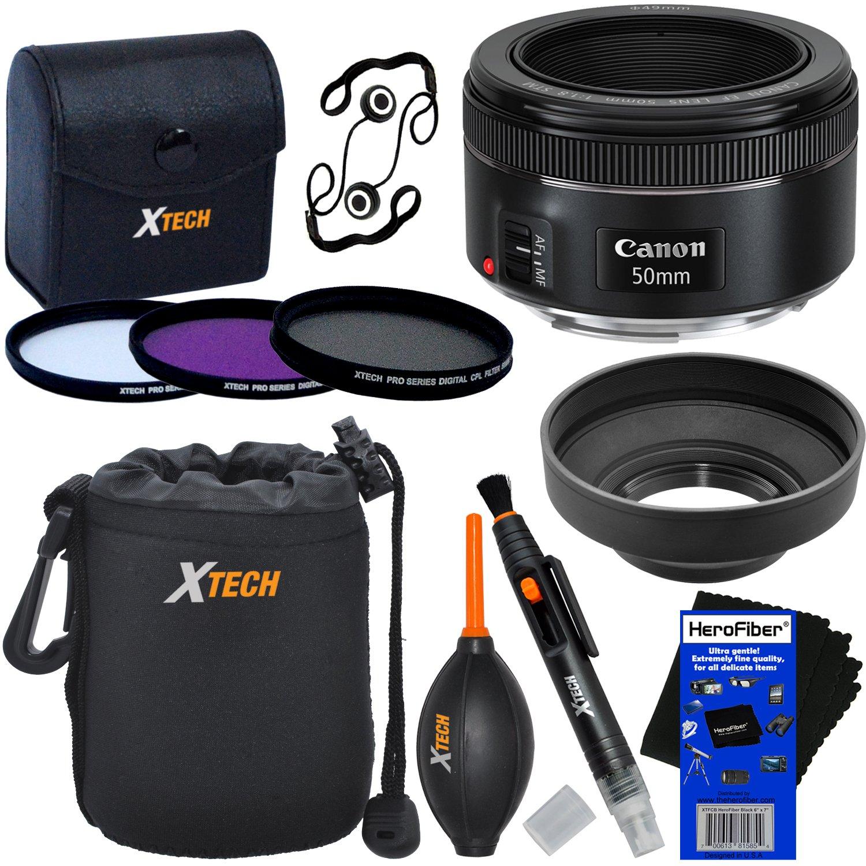 Canon EF 50mm f/1.8''STM Lens for Canon SLR Cameras (International Version) + 3pc Filter Kit (UV,FL-D,CPL) + 8pc Bundle Accessory Kit w/HeroFiber Ultra Gentle Cleaning Cloth