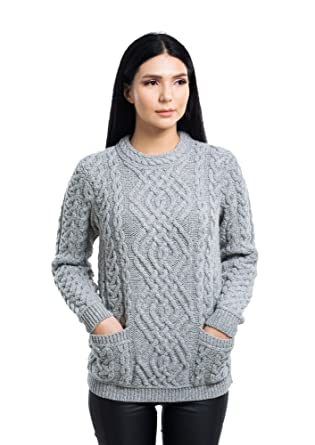 b7737722c5d7 100% Irish Merino Wool Warm Cable Knit Women Crew Neck Fitted ...