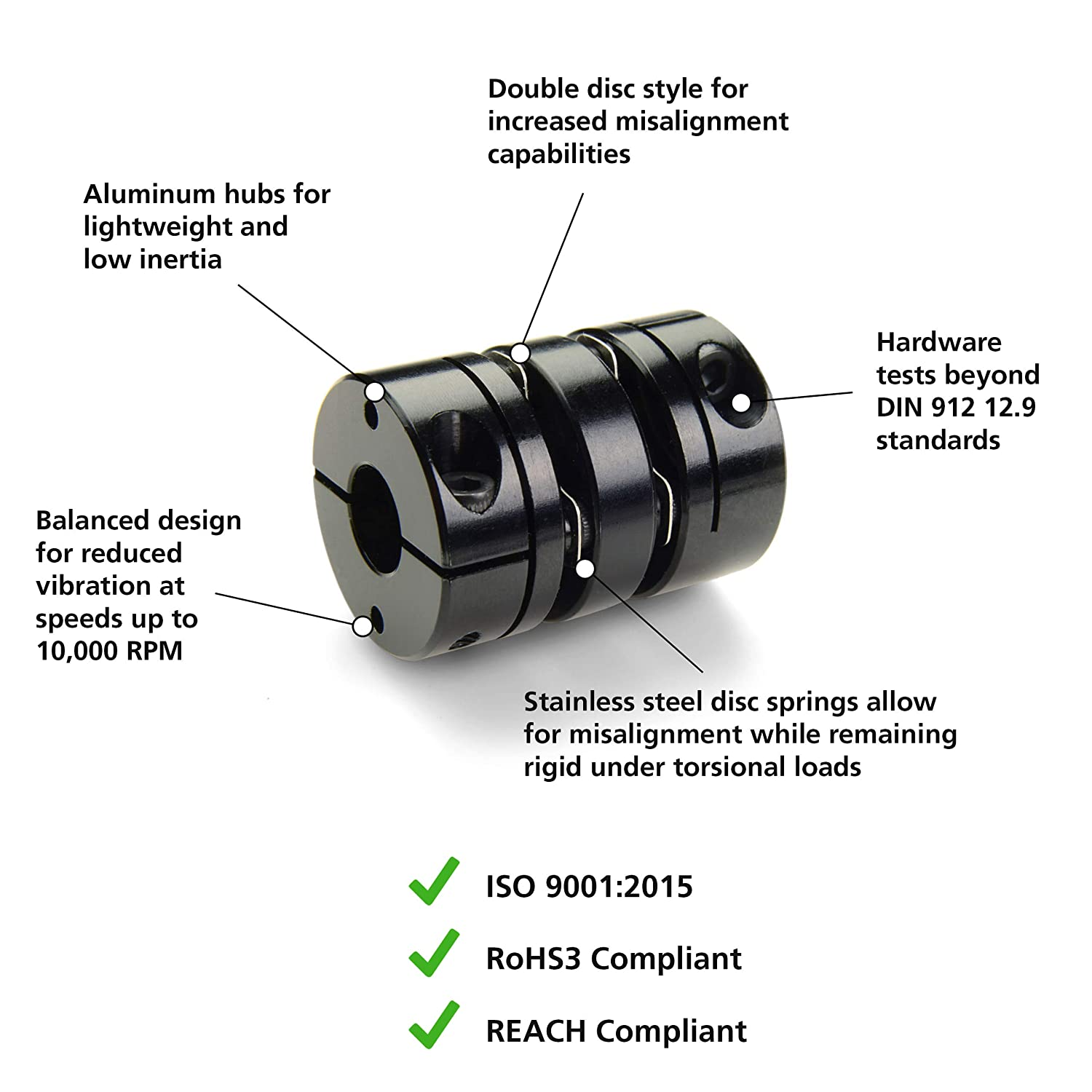 Double Disc Clamp Style Ruland DCD26-10-8-A Aluminum Disc Coupling 0.625 x 0.500 Bores Inc. 1.625 OD 0.625 x 0.500 Bores 1.625 OD Ruland Manufacturing Co