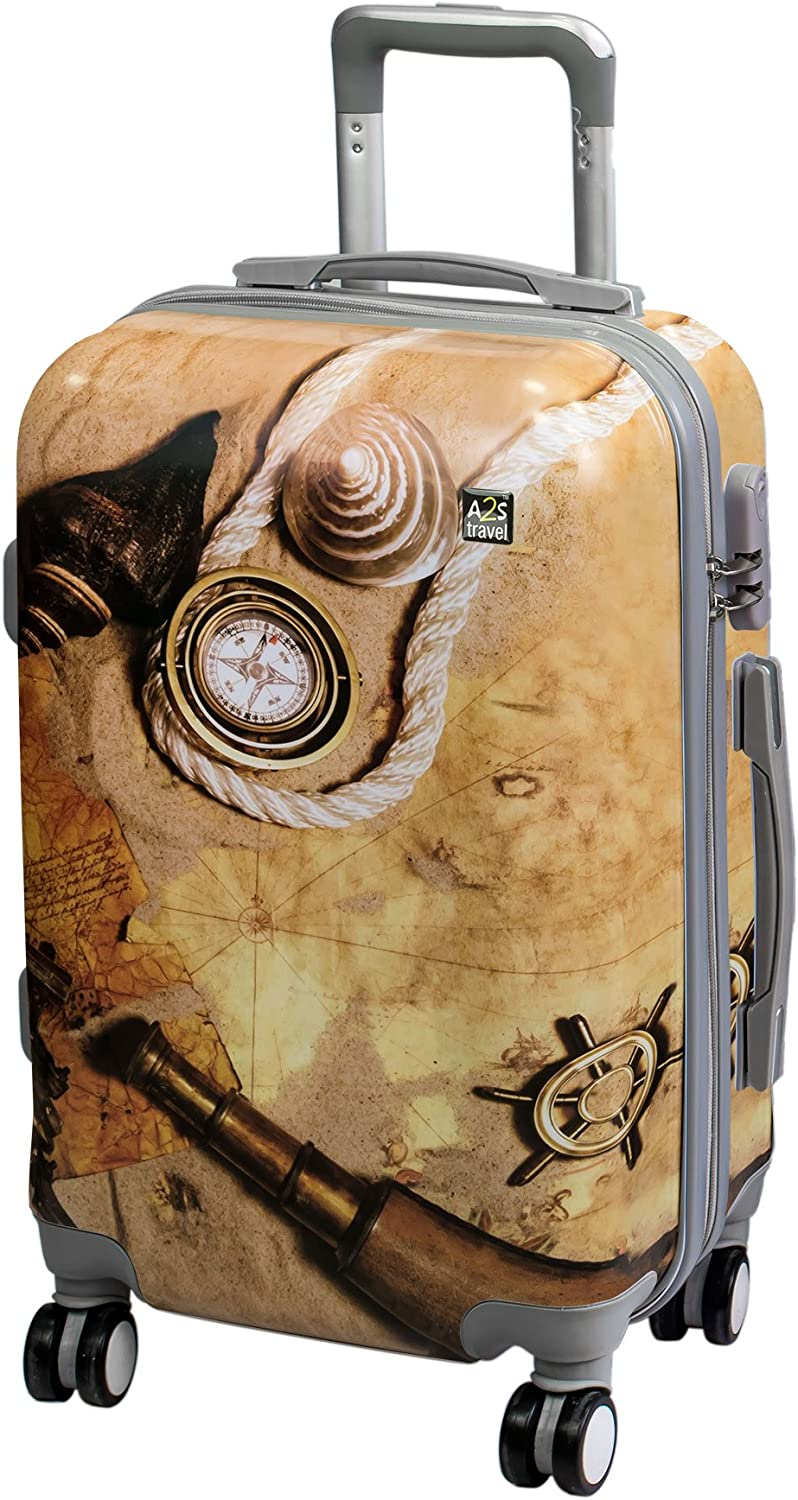 animations 9 New Variations 55x35x22cm A2S Cabin Luggage Lightweight /& Durable Hard Shell Printed Suitcase with 8 Spinner Wheels Carry on Bag Airplanes