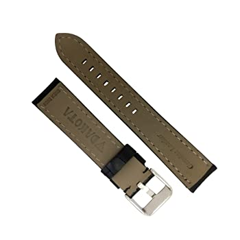Men's 11846 Quartz Black Geniune Leather, Contrast Stitched, Padded Watch Band (20 mm, 22 mm, 24 mm), 24 mm