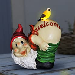 """Exhart Mooning Gnome Welcome Garden Statue, Resin, Solar Powered, 9"""" L x 8"""" W x 11"""" H"""