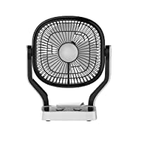 Impex Solar Rechargeable Fan (BREEZE D1) with LED Light Dual Speed Mode 3 Blade Table Fan (Black)