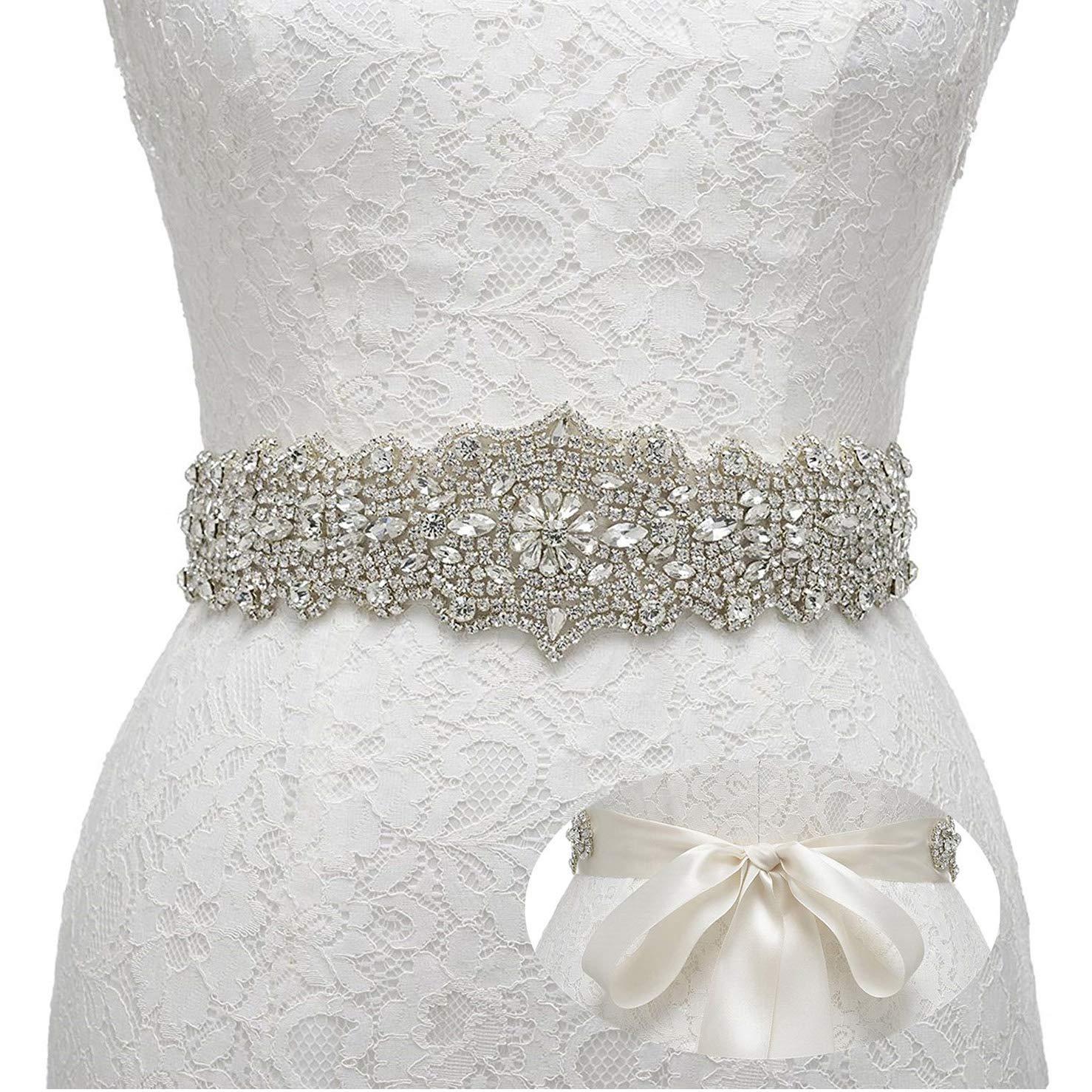 Remedios Rhinestone Bridal Belt Crystal Wedding Belt Bridesmaid Sash Women Dress Accessories, Ivory