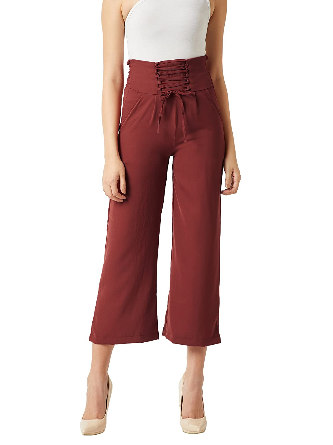 Miss Chase Women's Brick Red Criss Cross Tie-Up Pants