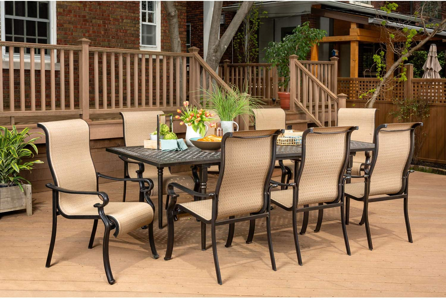 Hanover BRIGDN9PC-EX Brigantine 9-Piece, Tan Outdoor Furniture