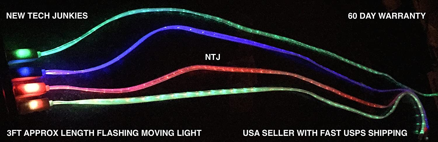 NTJ 39 Led Light-up USB Data Sync Charger Cable Flat Flashes Multi-Color White