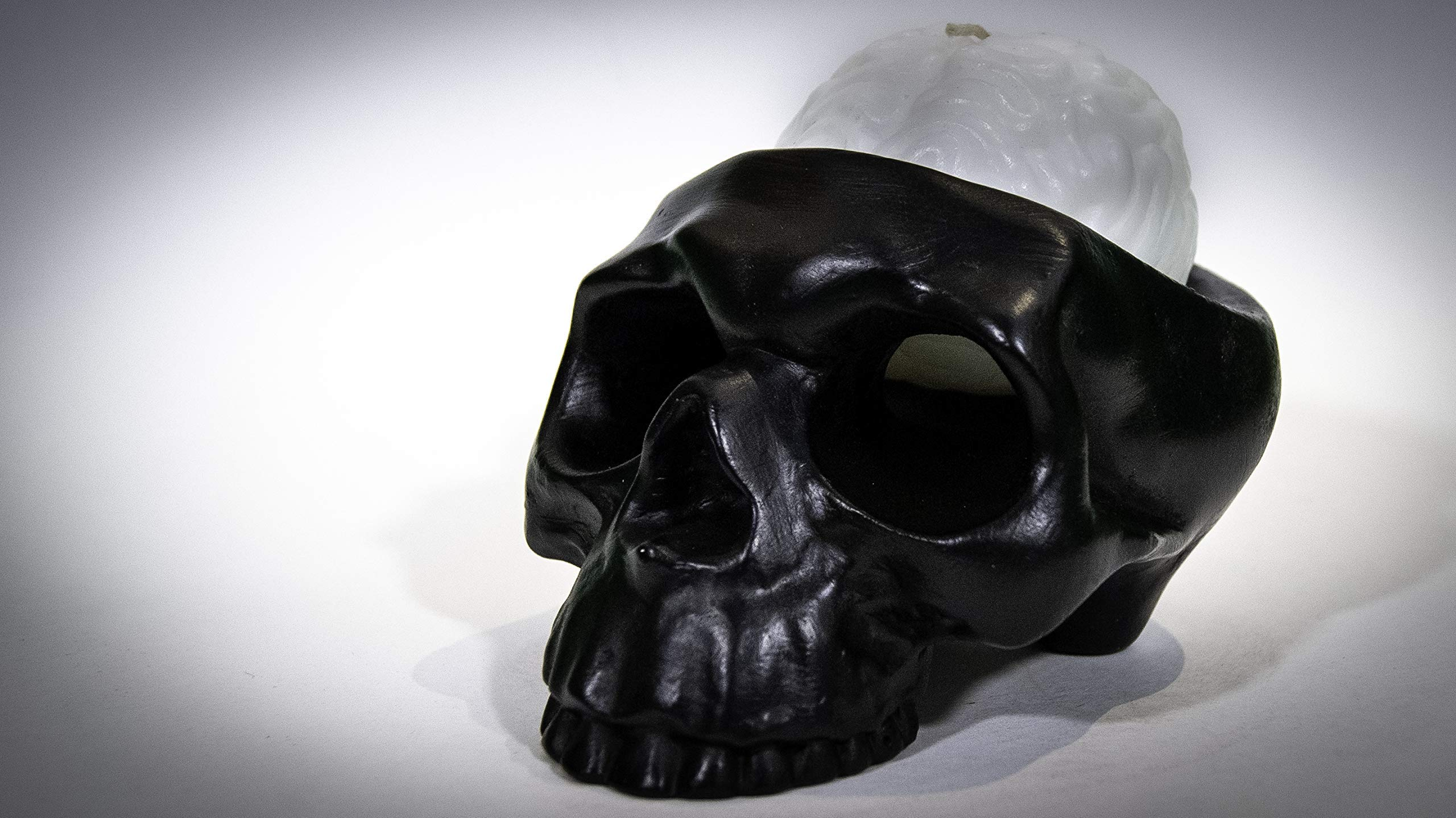 Handmade Novelty Crying Skull Candle Holder with a Brain Candle (Black/White)