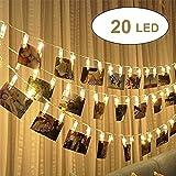 20 LED Foto Clip Stringa Illuminazione, 2.4m LEDs Foto Clips Mollette,foto clip luci di stringa Batteria Alimentato LED Immagine Illuminazione per Casa,Matrimonio,festa di compleanno (Bianca Calda)