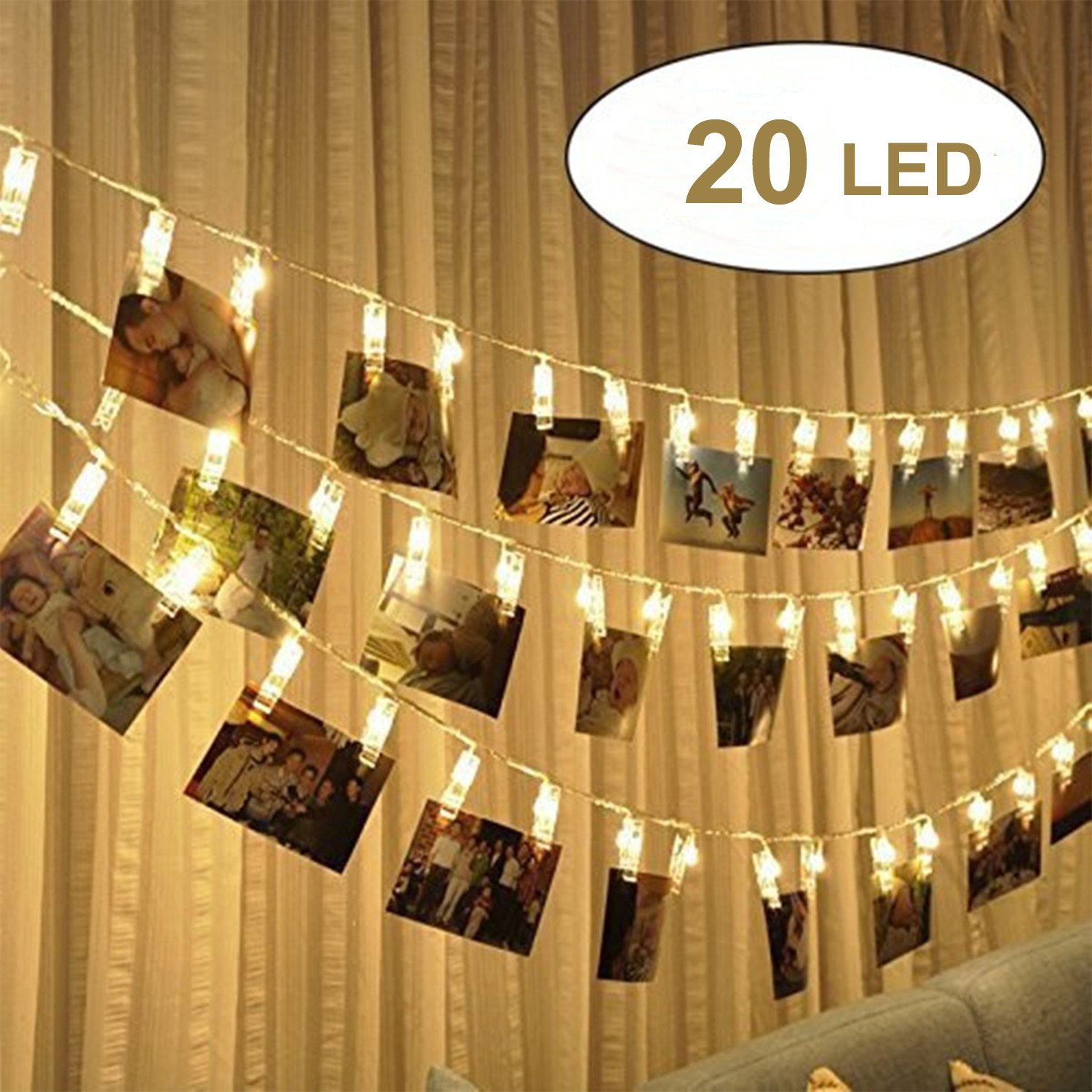 20 LED Photo Clip Lights,2.4m Battery Powered fairy String Lights with photo clips, Picture Lights for Hanging Photos Pictures Cards, Memos, Artwork, Ideal Gift for Dorms Bedroom Decoration (Warm White) frdzsw