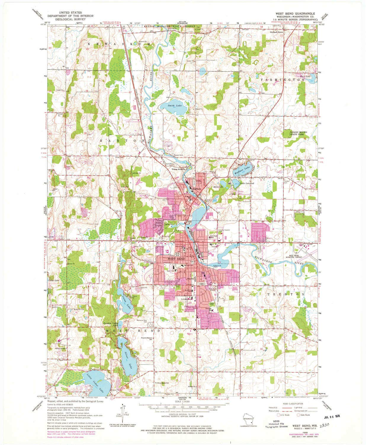 YellowMaps West Bend WI topo map, 1:24000 Scale, 7.5 X 7.5 Minute, Historical, 1959, Updated 1977, 27.26 x 22.47 in
